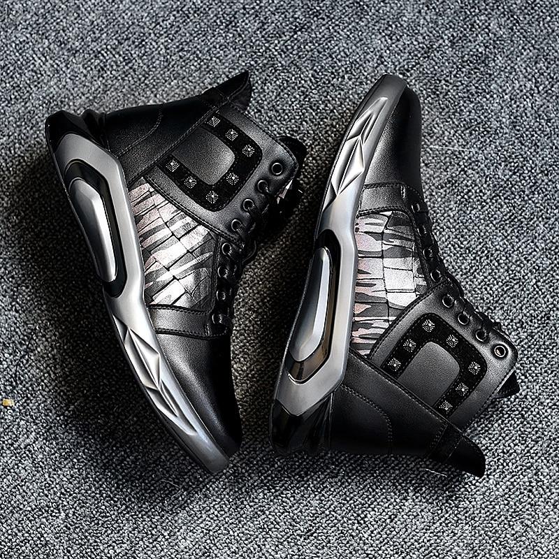 CNFIIA Shoes Leather Men Winter Fur Sneakers Men Fashion Shoes High Top Sneakers Black Male Designer Shoes Brand Luxury Footwear