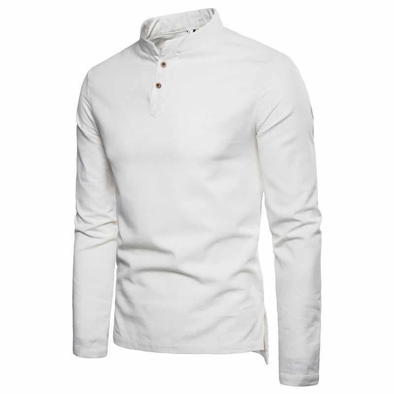 2019 Autunno dei Nuovi Uomini di Cotone camicie di Lino Stile Cinese Slim Fit camicia A Maniche Lunghe Magliette e camicette di Colore Solido Degli Uomini Traspirante camicia di lino