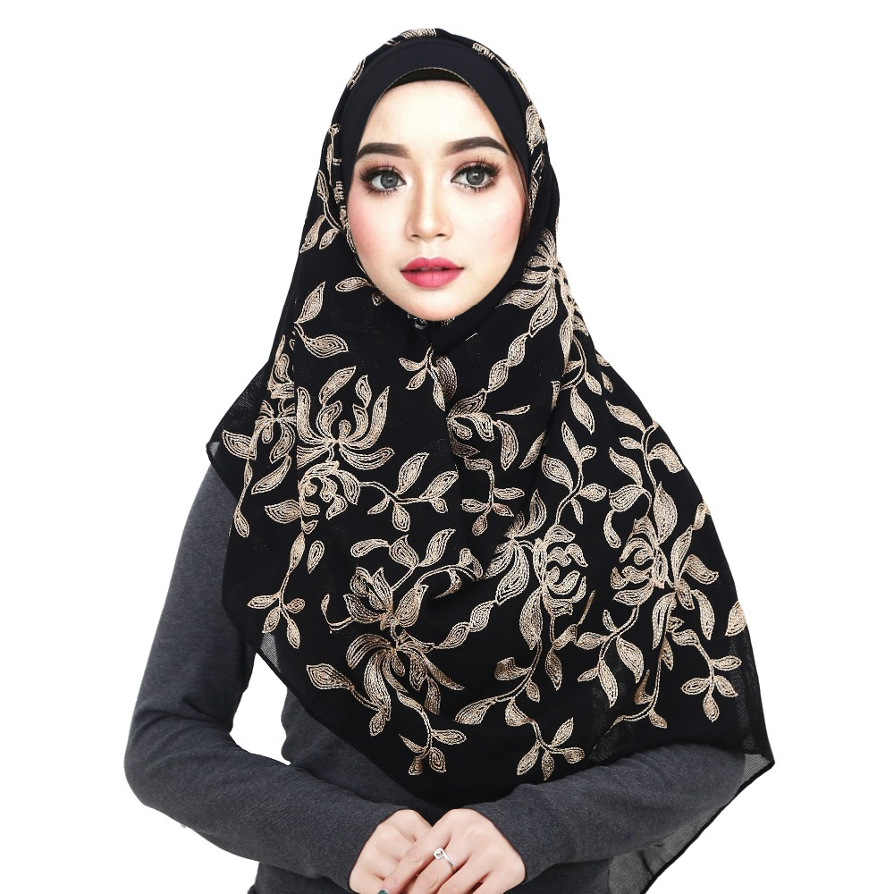 Luxury Fashion Floral Gold Embroidery Hijab   Scarf   Elegant Women Ultra Winter/Autumn Black Shawls and   Wraps   Hijab   scarf