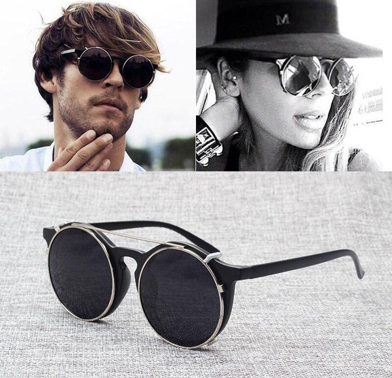 JackJad 2017 Hommes De Mode de Cru Rond SteamPunk Style lunettes de Soleil Double Couche Design À Clapet Lunettes de Soleil Oculos De Sol