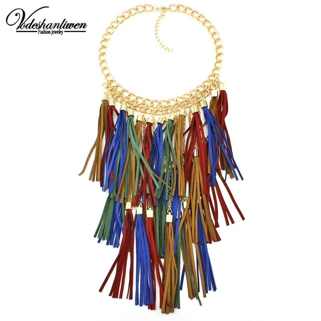 3dea7df1675c 2016 colores hechos a mano cuero borla collar moda mujeres joyería única  declaración Collares y colgantes