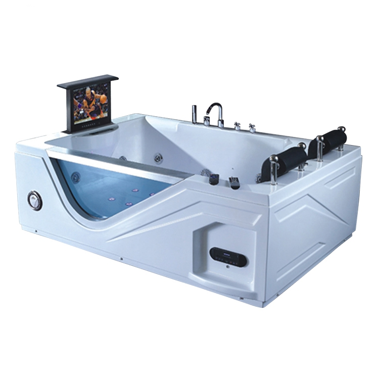 High quality glass bathroom Acrylic Whirlpool Massage Bathtub with TV