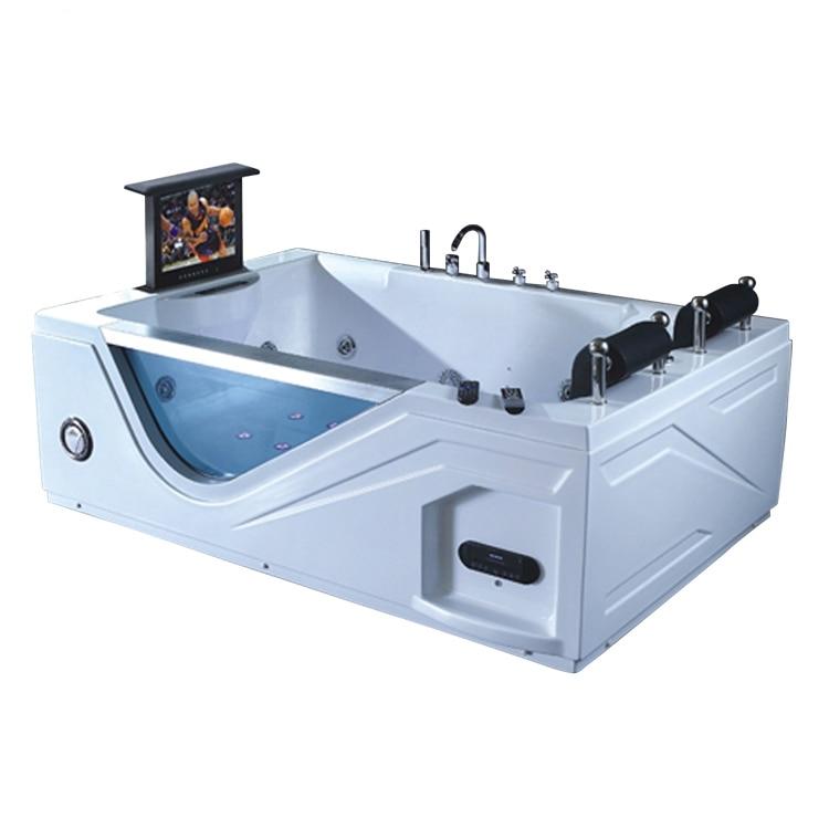 High quality glass bathroom Acrylic Whirlpool Massage Bathtub with TV