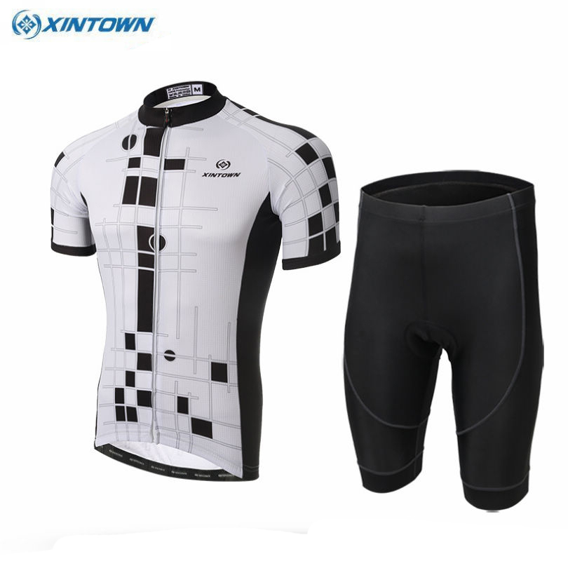 XINTOWN Men's Team Short Sleeve Bicycle Clothing Ropa Ciclismo Summer Bike Team Cycling Jersey Shorts Outfits White S-4XL xintown team mens cycling long sleeve jersey bib pants suit red clothing set ropa ciclismo mtb bike bicycle s 4xl