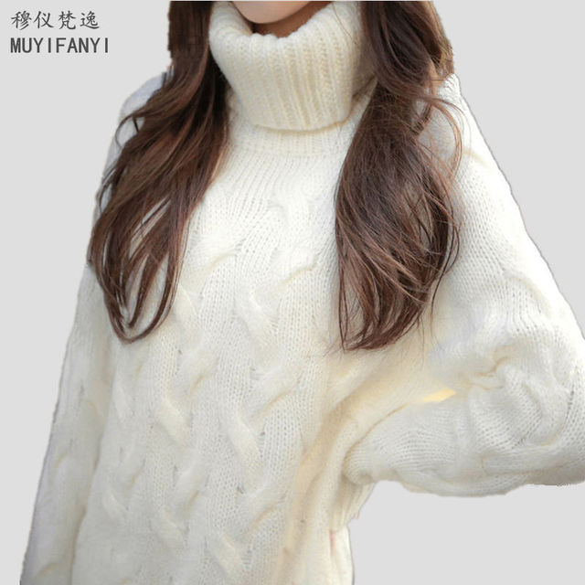 2018 Korean Fashion Long Sweaters Women Pullovers Winter Ladies Turtleneck Thick Casual Knitted Sweaters MY29