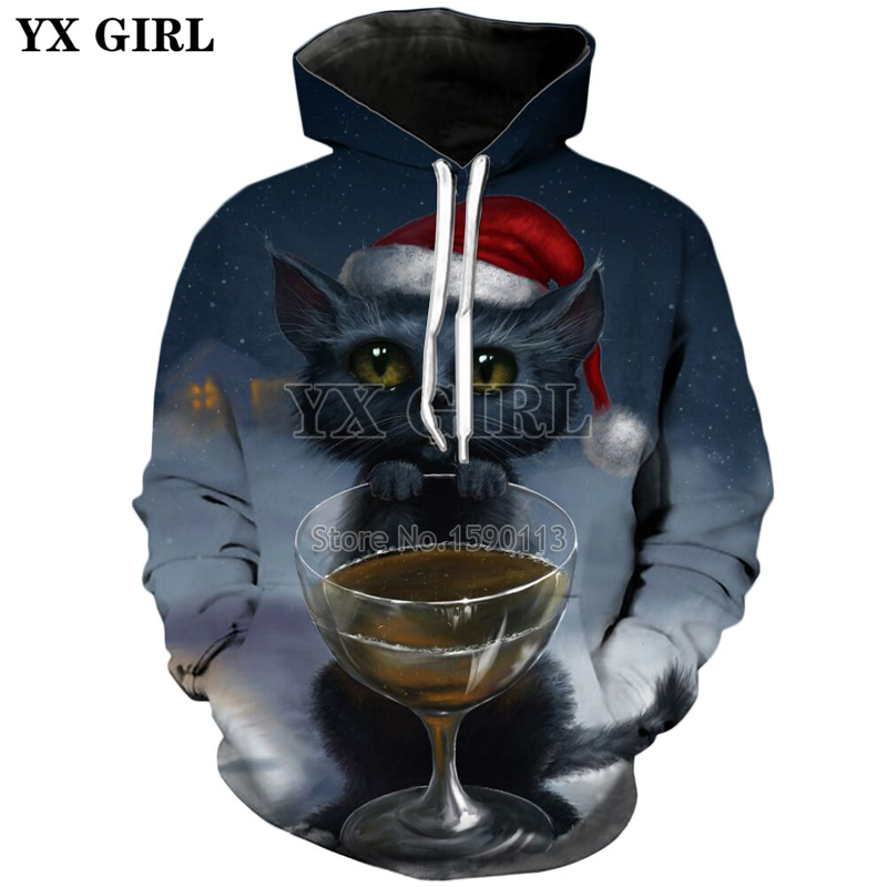 YX GIRL new style Cute Cat Sweatshirt Men Women Kawaii Animal Long Sleeve Hooded Autumn Funny Sweatshirt Brand Clothing
