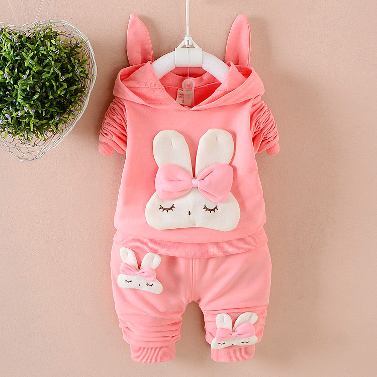 2017 New Cute Newborn Baby Girl Clothes Spring Autumn Rabbit Full Sleeved Hooded Hoodies + Pants Outfits Kids Bebes Jogging Suit
