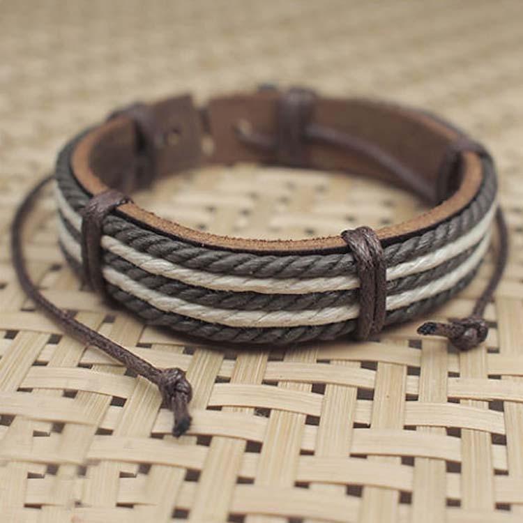 2017 Лидер продаж мужской моды мужские Браслеты пять воск веревки ручной работы кожаные коричневые Цвет браслет