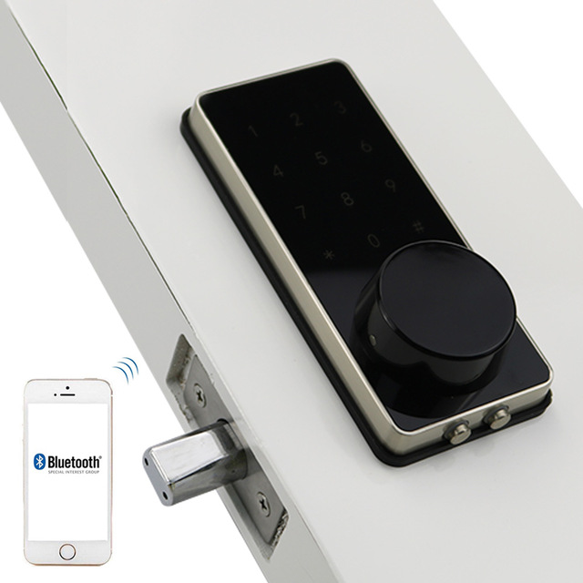 Silver Zinc Alloy Home Smart Bluetooth Electronic Press Screen Code Password Lock Deadbolt Door Lock Unlock By App Code Key