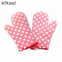2 PCS Pink White Dots Heat Resistant Silicone Oven Gloves Grill Microwave Oven Mitts Kitchen Barbecue