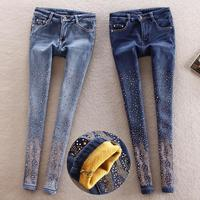 Warm Jeans For Woman Stretch Rivet Beading Jeans Hole Elastic Skinny Jeans Woman Pencil Pants Jeans