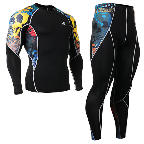 Men Compression Pants Shirts Cycling Bodybuilding and Fitness Clothes Set SportsLong Sleeve 4 Way Stretch C2L_P2L