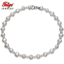Feige Baroque Style 10-11mm White Natural Freshwater Pearl Choker Necklaces for Womens Crystal Colar Fine Jewelry
