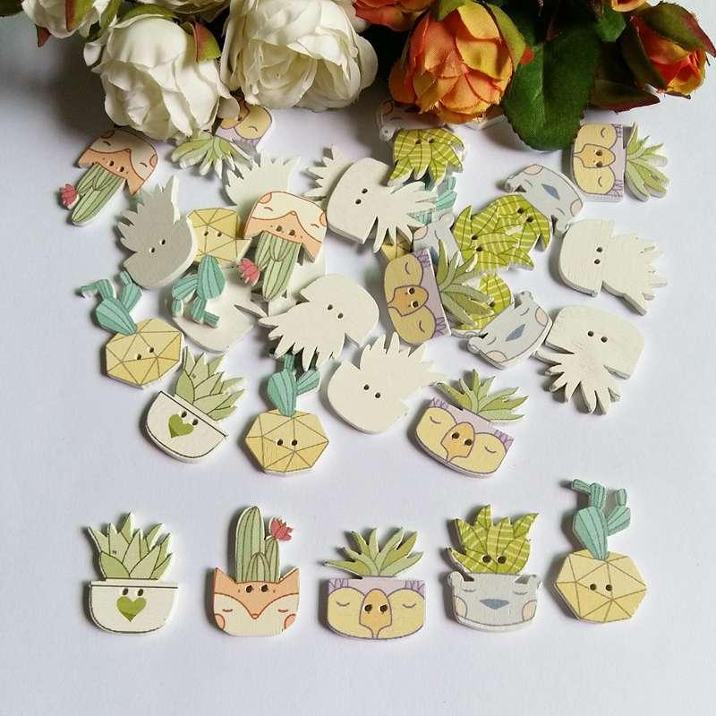 Новинка, 50 шт., деревянные пуговицы с 2 отверстиями в 5 стилях, в горшке, с изображением кактуса, подходящие швейные принадлежности для скрапб...