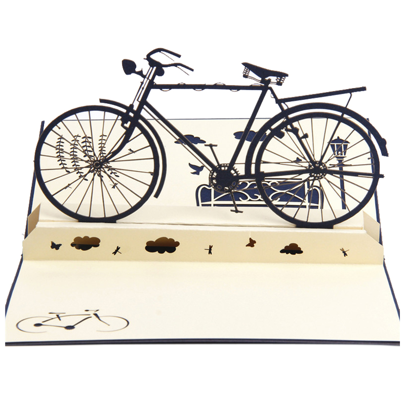 Perfect-3D pop up handmade laser cut vintage cards Vintage bike creative gifts postcard birthday greeting cards for lovers