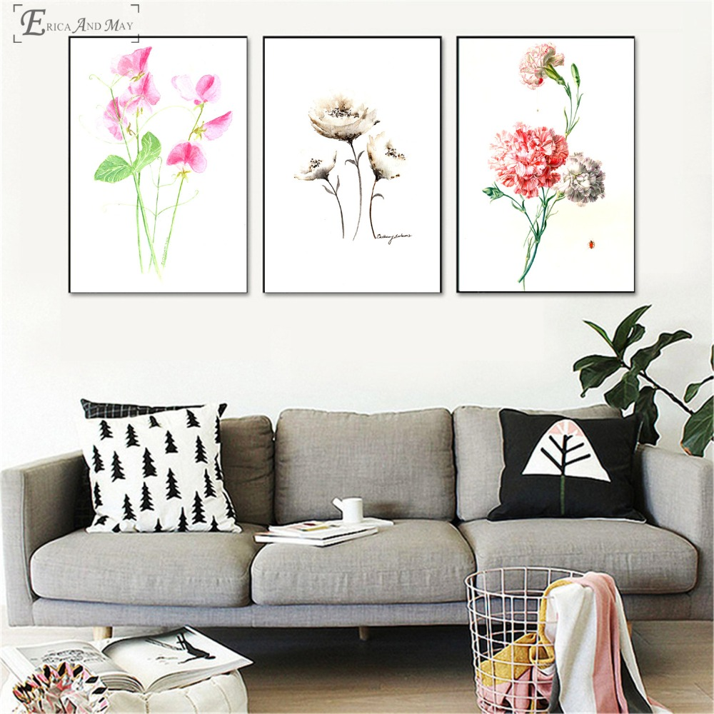 Colorful Flower Hand Painted On Sale Poster Wall Painting Living Room Abstract Canvas Art Pictures For Home Decor No Frame