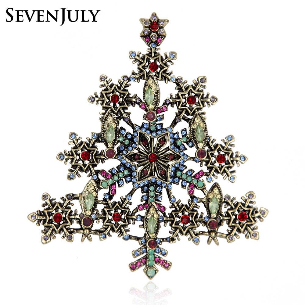 Antique Gold Metal Christmas Tree Brooch Crystal Rhinestone Snowflake Star Pin Women Garment Fashion Jewelry Accessory