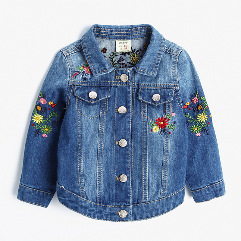 Baby Girls Denim Jackets Coats Fashion Fashion Floral Embroidery Denim Jacket Spring Fall Children Outwear Kids Denim Coat 2-9 YBaby Girls Denim Jackets Coats Fashion Fashion Floral Embroidery Denim Jacket Spring Fall Children Outwear Kids Denim Coat 2-9 Y