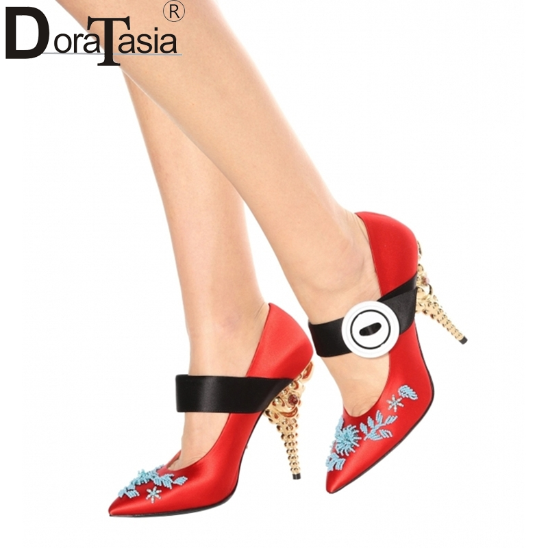 DoraTasia 2018 brand design shoes women sexy high heels Mary janes woman pumps party weding shoes large size 34-43 customized doratasia embroidery big size 33 43 pointed toe women shoes woman sexy thin high heels brand pumps party nightclub