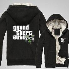Game Grand Theft Auto V GTA5 Logo Hoodies Zip Up Fleece Super Warm Printing Pattern Cotton Coats Sweatshirts
