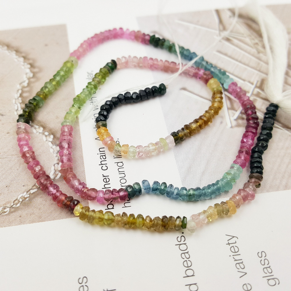 Natural Bright Quality Multi Color Faceted Flat Round Tourmaline Beads 1.5x3mm DIY Jewelry Making Necklace Bracelet Approx 36cm
