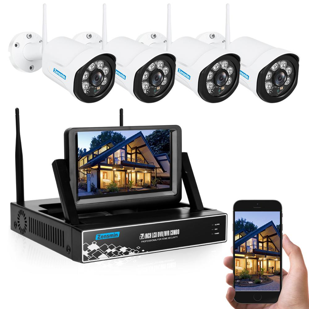 Zensmin H.264 4channel 960P full hd cctv camera wireless kit with 10 LCD display wireless NVR home shop cctv wifi ipcam system