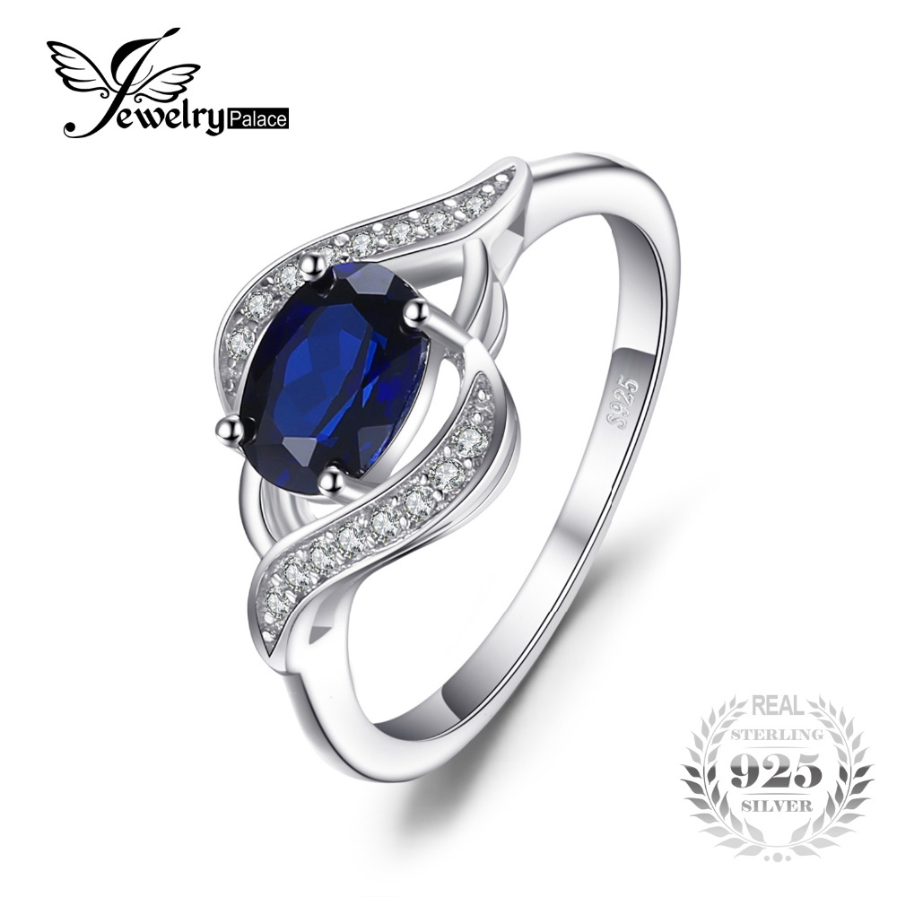JewelryPalace 1.1ct Created Blue Sapphire Statement Ring 925 Sterling Silver Jewelry Ring Sets New Gift  For Women As Gifts цена