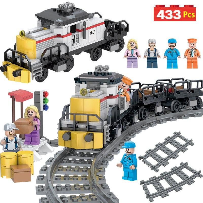 Technique Ensembles Compatible LegoINGLYS Ville Train Fret Puissance Modèle De Chemin De Fer Blocs Brique Jouets Pour Enfants Cadeau D'anniversaire
