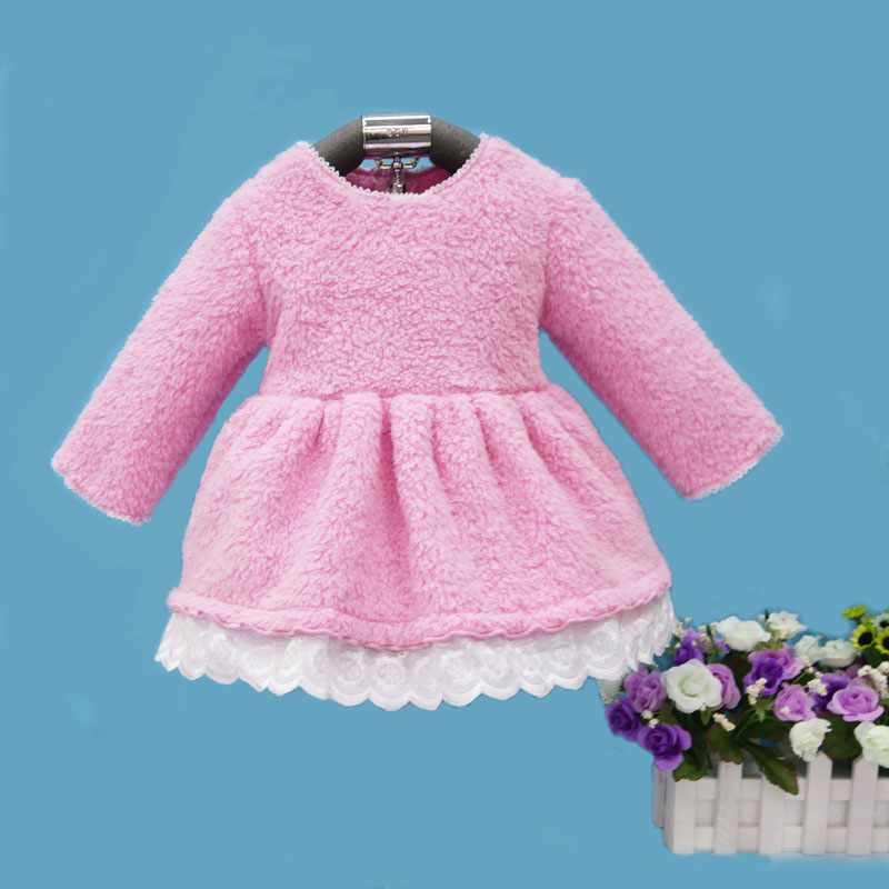 2018 Little Q winter coral fleece long sleeve baby dress ball gown crew neck children birthday wedding dresses infant clothing taya t b 12032 neck coral
