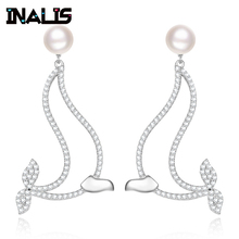INALIS New Luxurious Cute Drop Earrings 925 Sterling Silver Micro Paved CZ Crystal with Pearl Dolphin Show Ball Dangle Brincos inalis new delicate cute drop earrings 925 sterling silver long chian with angle dangle brincos red clear cz fine jewelry girl
