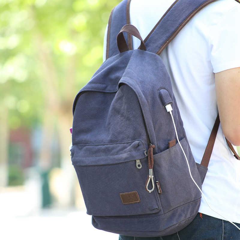 2019 casual faculdade portátil mochila de carregamento usb anti roubo mochila de viagem dos homens lona mochila escolar masculino do vintage