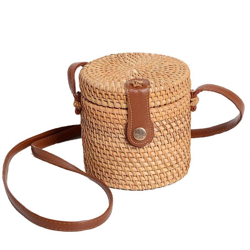 Women's Handmade Rattan Woven Shoulder Bag Bucket Bag Travel Handbag Round Straw Bag Ladies Cosmetic Bag