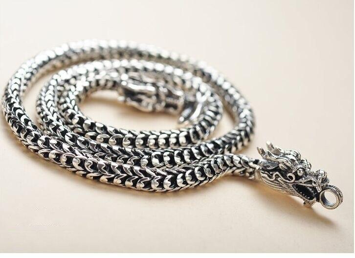 Collier hommes S925 bijoux en argent faire vieux vintage dominateur dragon échelle fabricants vente collier