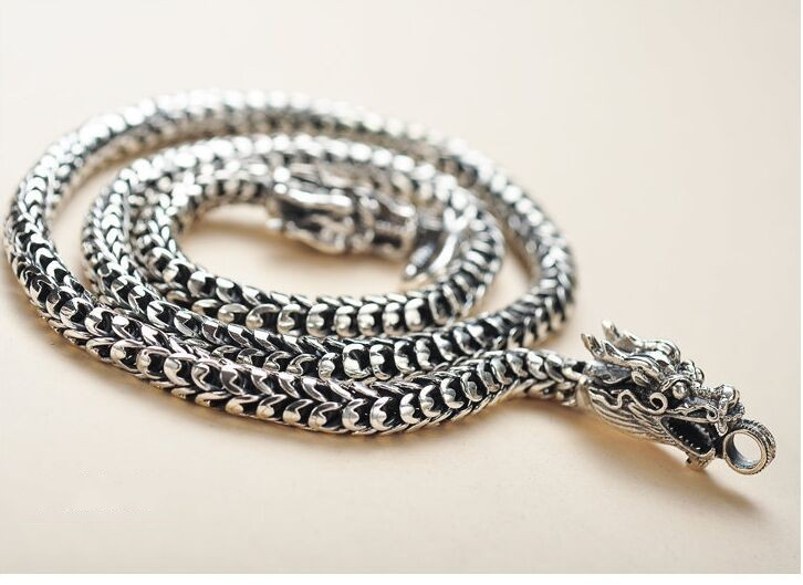 Necklace Mens S925 silver jewelry do old vintage domineering dragon scale manufacturers selling Necklace все цены