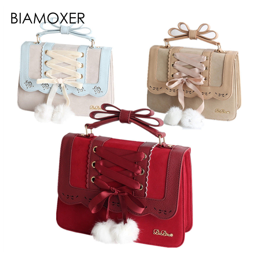 Biamoxer Sweet Lolita Ribbon Handbag Shoulder Bag Crossbody Messenger Bag Cosplay