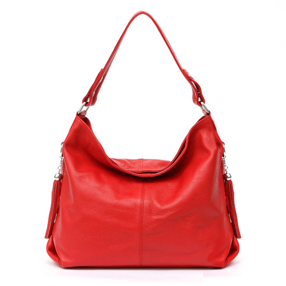 Bags For Women Soft Genuine Leather Handbag First Layer Cow Leather Long Handel Messenger Bag Shoulder Bags Tassel Feminina Saco