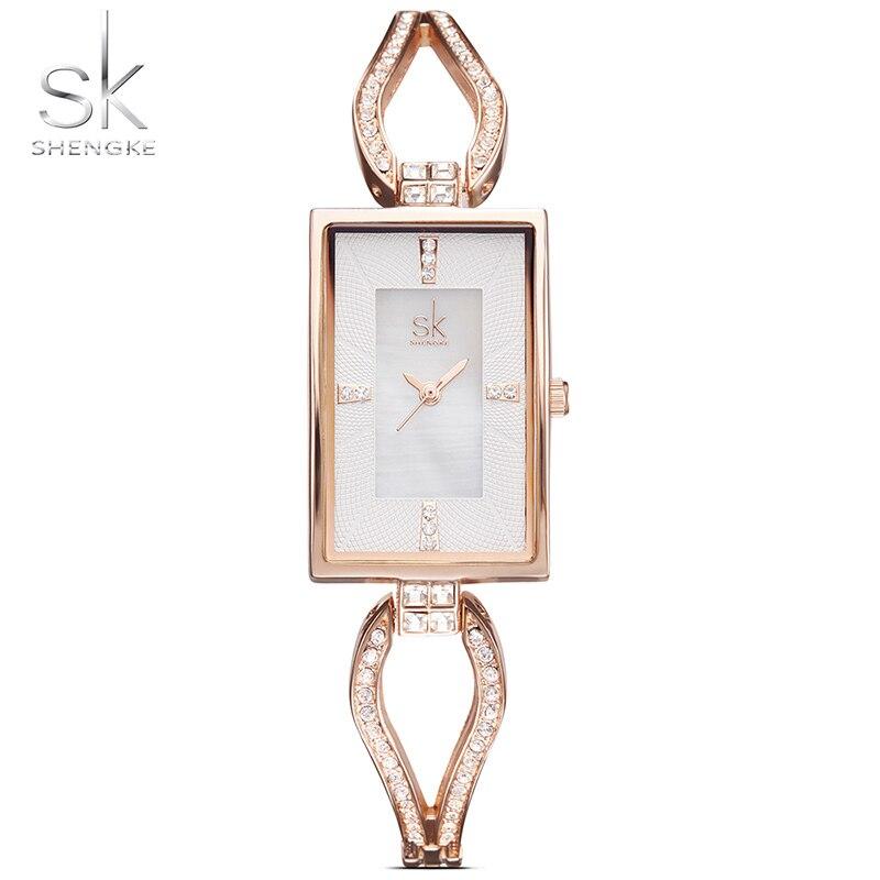 Shengke Women Watches Dress Watch Skeleton Bracelet Diamond Dial Watch Ladies Rhinestone Watches For Women Relogio