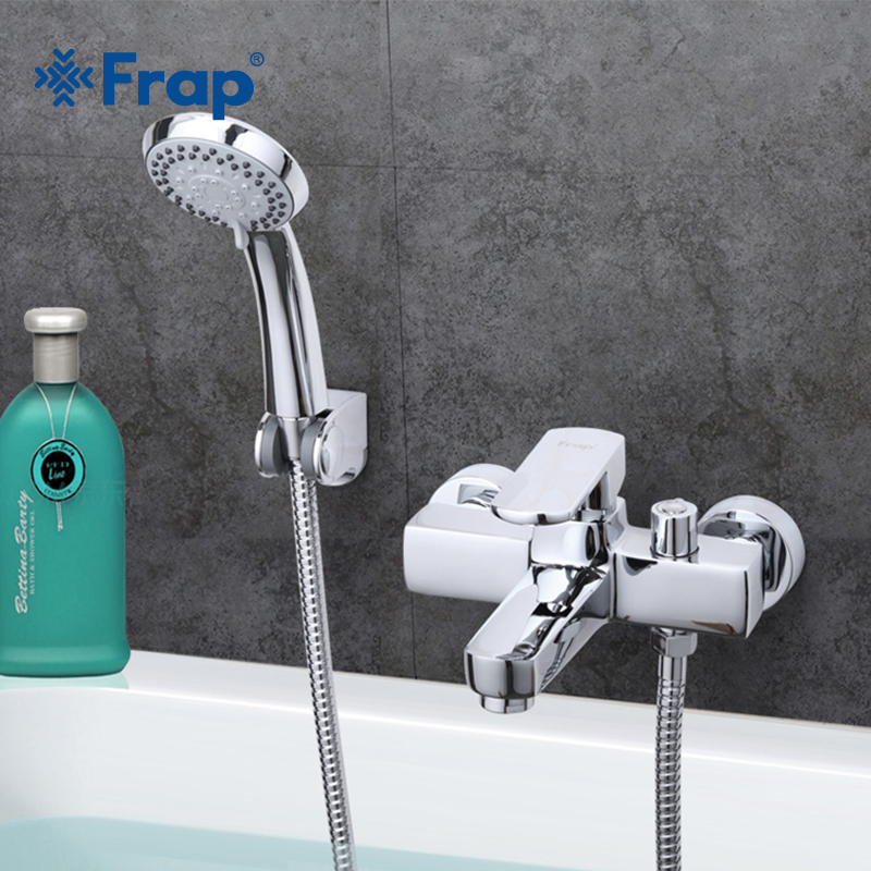 Frap Free Shipping Modern Style Bath and Shower Faucet Cold and Hot Water Mixer Single Handle