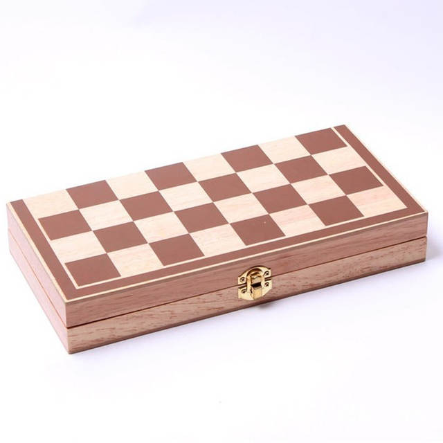 Funny Folding wooden chess piece high grade grid International checkers  Chess Set Board Game Sports Entertainment 34*34cm-in Chess Sets from Sports  &
