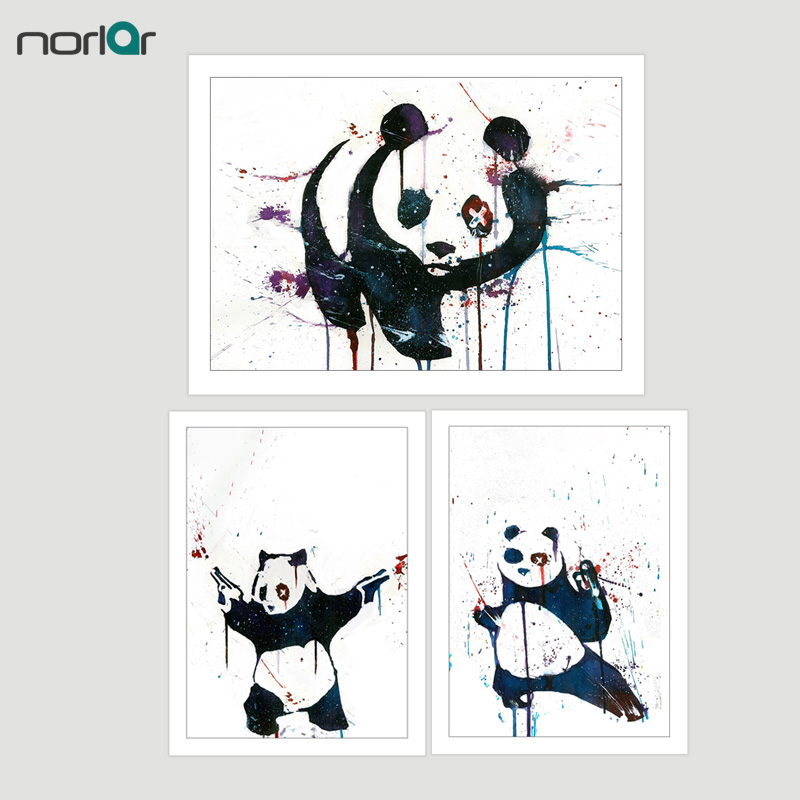 HD Printed Bansky Street Art Graffiti Kung Fu Panda WITH GUNS Canvas Painting Poster Wall Art Picture Home Decor NO Frame