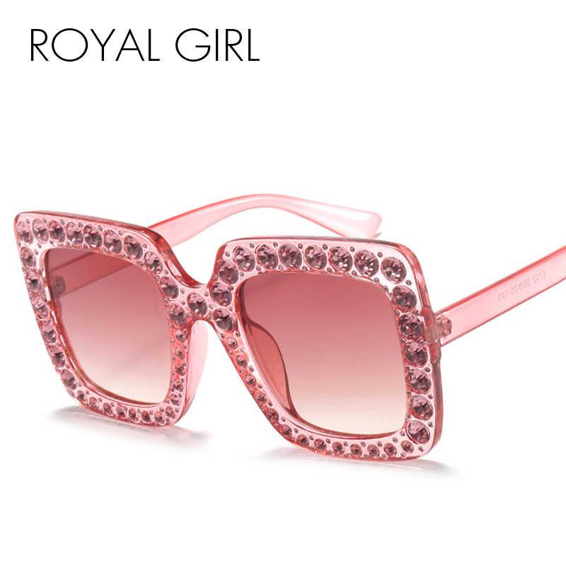 5b25ed1ad0 ... ROYAL GIRL cristal borde gafas de sol mujeres Retro marca diseñador  cuadrado gafas de gran tamaño ...