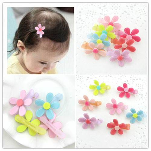 30pcs Top Selling Plastic Flower Kids Hair Clips Bb Duck