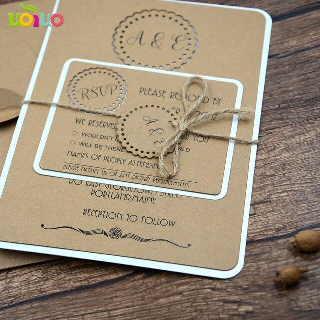 20pc Laser Vintage Kraft Wedding Invitation Cards Envelope Rsvp Hemp Rope Tied Tag For