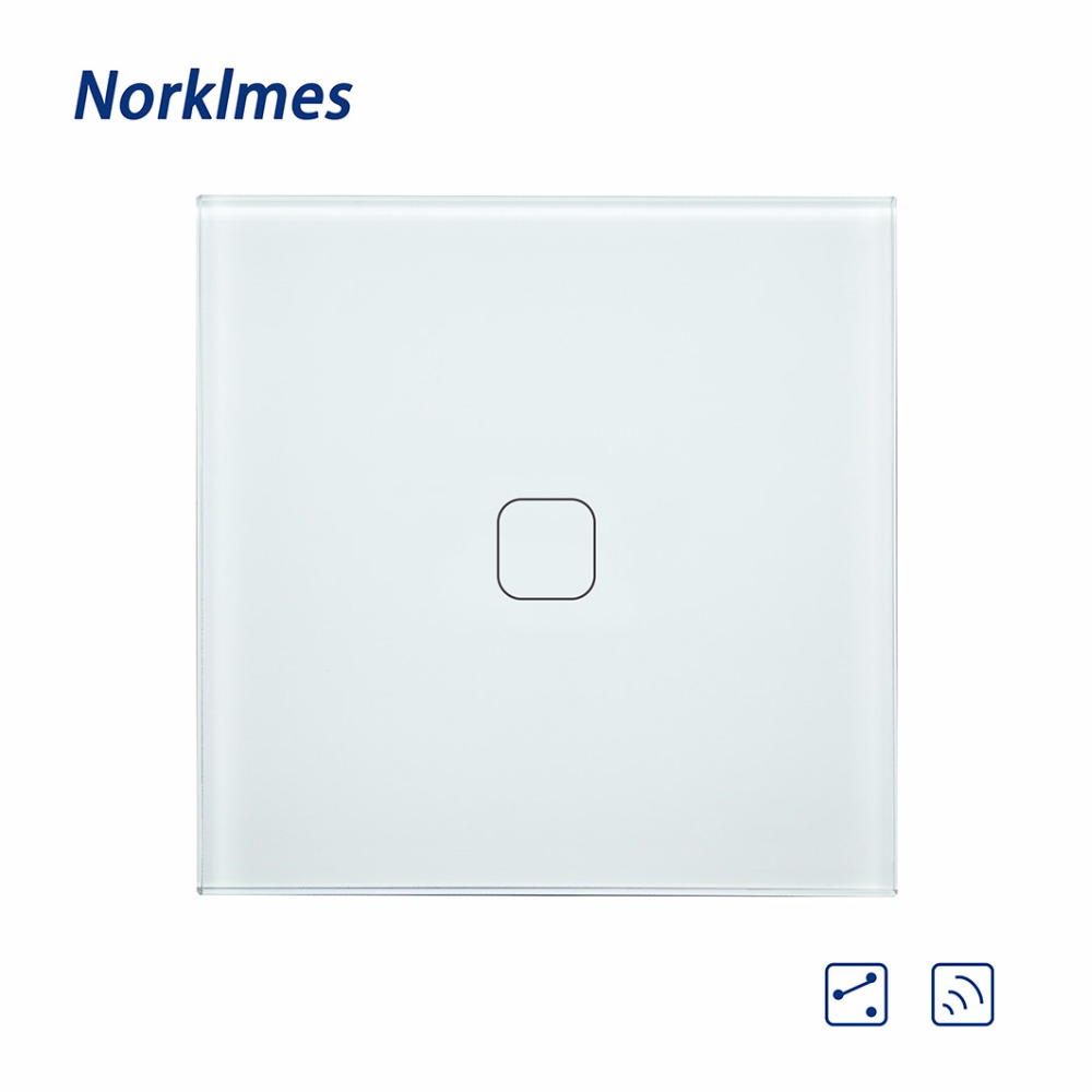 2018 Push Button Norklmes Eu Crystal Glass Panel ,light Wall Touch Screen Switch 1 Gang  ...
