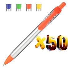 Lote de 50 Uds de bolígrafos de plástico plateado, promoción, bolígrafo pluma personalizada logotipo, regalo, regalo personalizado