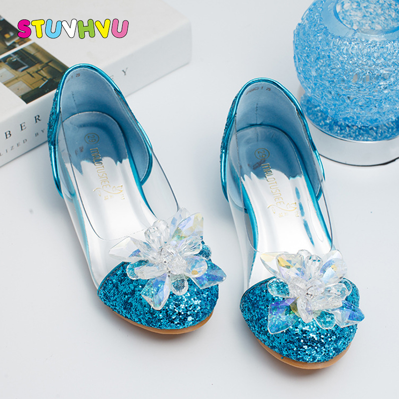 Girls wedding shoes for kids children's leather shoes 2018 fashion rhinestones transparent princess high heels party dance shoes kids glitter sandals elegant princess dance wedding dance party leather shoes heel student