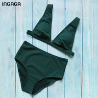 INGAGA Sexy Plunging Bikini Set 2018 High Waist Swimwear Women Solid Swimsuit Padded Summer Beachwear Bathing