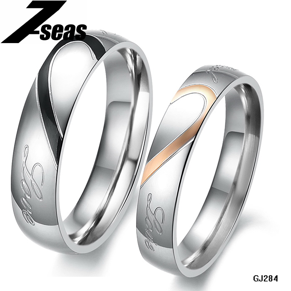 1 Piece Price Romantic Stainless Steel Couple Wedding Engagement Ring Half  Heart Puzzle Men Jewelry His