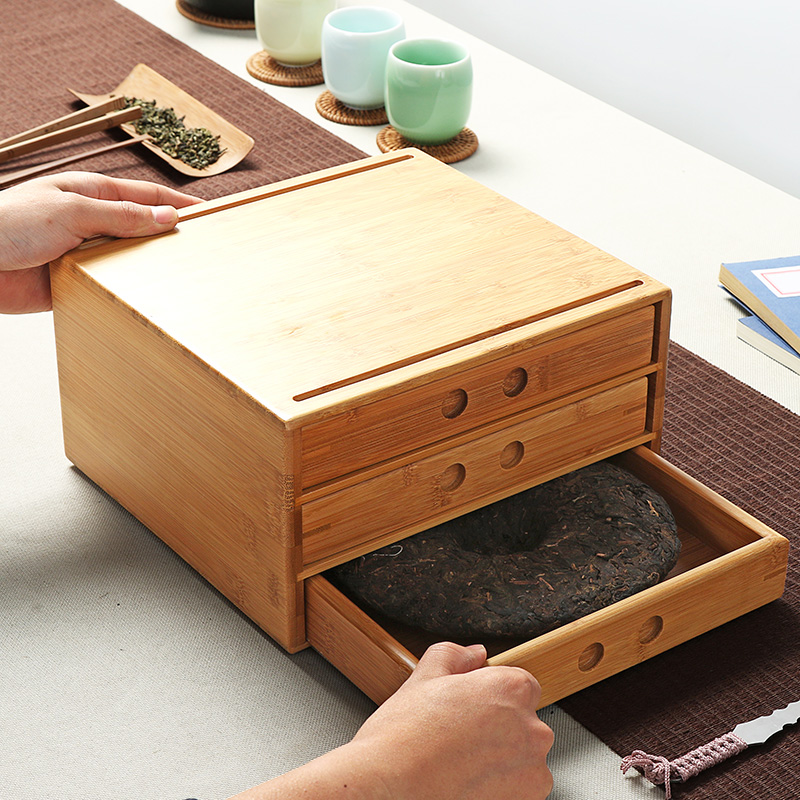 Bamboo Pu'er Tea Boxes Pu'er Separator Cut Tea Tray Kung Fu Tea Set Ceremony Accessories Healthy Food Storage Drawer