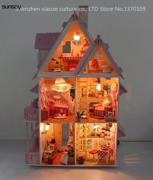 Bricolage modèle soleil Alice maison de poupée livraison gratuite assembler Villa poupée maison/bois poupée meubles en bois jouets Miniature maison de poupée